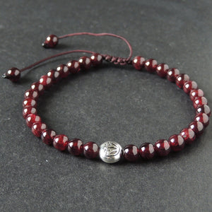 5.5mm Grade AAA Garnet Adjustable Braided Bracelet with Tibetan Silver Round Lotus Emblem Bead - Handmade by Gem & Silver TSB293