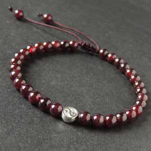 5.5mm Natural Non-treated Garnet Gemstones - Handmade Braided Bracelet with Adjustable Drawstrings, Yin Yang Tibetan Silver Bead, Yoga, Chakra Meditation, balance, peace