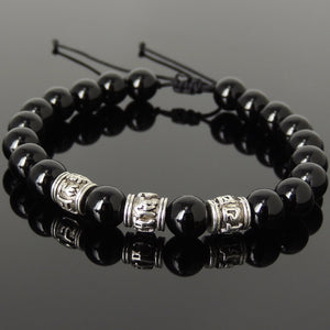 Bright Black Onyx Adjustable Braided Bracelet with Tibetan Silver OM Buddhism Beads - Handmade by Gem & Silver TSB341