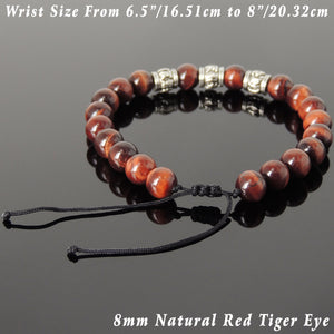8mm Red Tiger Eye Gemstone Adjustable Braided Bracelet with Tibetan Silver OM Buddhism Beads - Handmade by Gem & Silver TSB342