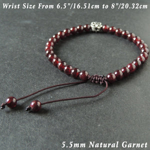 5.5mm Grade AAA Garnet Adjustable Braided Gemstone Bracelet with S925 Sterling Silver Round Fleur de Lis Emblem Bead - Handmade by Gem & Silver BR1017