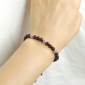 5.5mm Grade AAA Garnet Adjustable Braided Gemstone Bracelet with S925 Sterling Silver Celtic Bead - Handmade by Gem & Silver BR1023