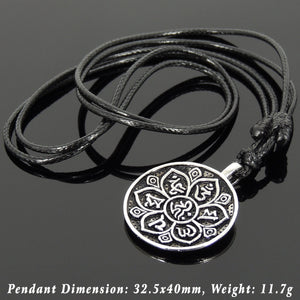 Men's Women Adjustable Necklace 925 Sterling Silver OM Lotus Pendant with Wax Rope DiyNotion NK169