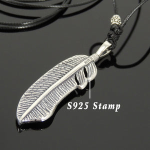Adjustable Wax Rope Necklace with S925 Sterling Silver Celtic Feather Pendant - Handmade by Gem & Silver NK172