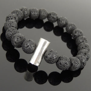10mm Lava Rock Healing Stone Bracelet with S925 Sterling Silver Seamless Faceted Cylinder Charm - Handmade by Gem & Silver BR1029