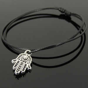 Adjustable Wax Rope Bracelet with Tibetan Silver Hamsa Hand Pendant - Handmade by Gem & Silver TSB301