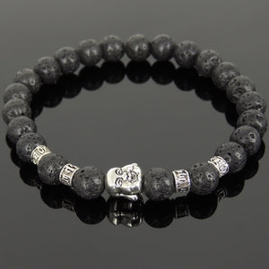 8mm Lava Rock Healing Stone Bracelet with Tibetan Silver Happy Buddha & OM Meditation Spacer Beads - Handmade by Gem & Silver TSB306