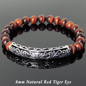 8mm Red Tiger Eye Healing Gemstone Bracelet with S925 Sterling Silver Lotus Charm - Handmade by Gem & Silver BR1032