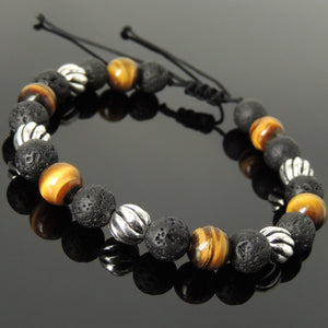 8mm Brown Tiger Eye & Lava Rock Stone Adjustable Braided Bracelet with S925 Sterling Silver Artisan Beads - Handmade by Gem & Silver BR1059
