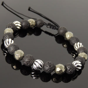 8mm Faceted Gold Pyrite & Lava Rock Adjustable Braided Stone Bracelet with S925 Sterling Silver Artisan Beads - Handmade by Gem & Silver BR1062