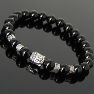 Bright Black Onyx Healing Gemstone Bracelet with Tibetan Silver Sakyamuni Buddha & OM Meditation Spacer Beads - Handmade by Gem & Silver TSB311