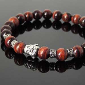 Red Tiger Eye Healing Gemstone Bracelet with Tibetan Silver Happy Buddha & OM Meditation Spacer Beads - Handmade by Gem & Silver TSB318