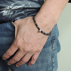 4mm Lava Rock Adjustable Braided Stone Bracelet with S925 Sterling Silver Skull & Spacers Bead - Handmade by Gem & Silver BR1071