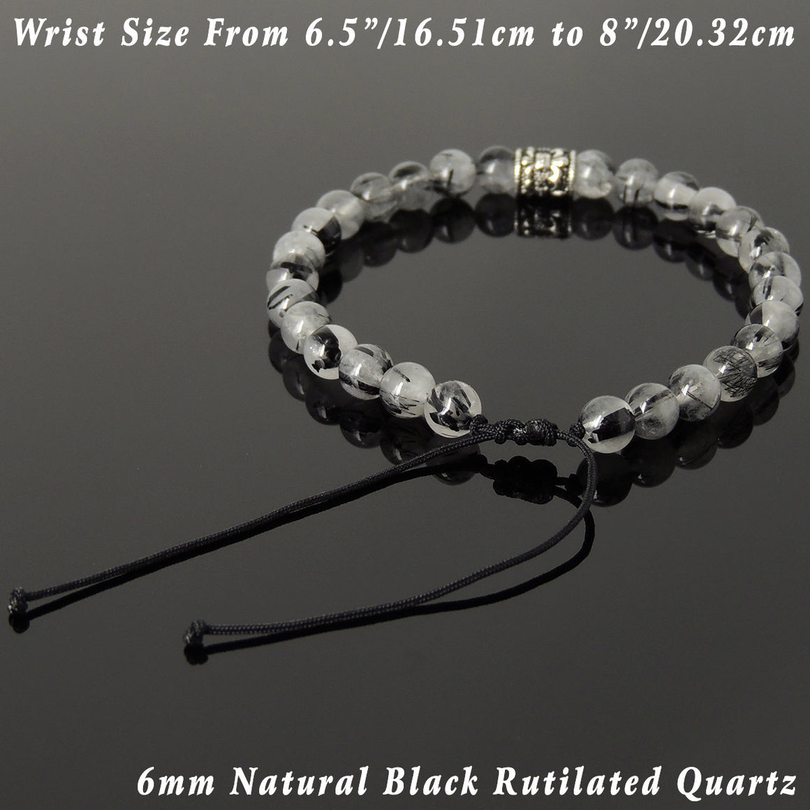 6mm Black Rutilated Quartz Adjustable Braided Gemstone Bracelet with S925 Sterling Silver Fleur de Lis Barrel Bead - Handmade by Gem & Silver BR1073