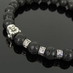 8mm Lava Rock Healing Stone Bracelet with Tibetan Silver Happy Buddha & OM Meditation Spacer Beads - Handmade by Gem & Silver TSB322