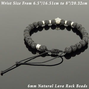 6mm Lava Rock Adjustable Braided Stone Bracelet with S925 Sterling Silver Spacers & Day of the Dead Skull Bead - Handmade by Gem & Silver BR1080