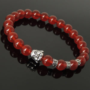 Red Agate Healing Gemstone Bracelet with Tibetan Silver Smiling Buddha & OM Meditation Spacer Beads - Handmade by Gem & Silver TSB330