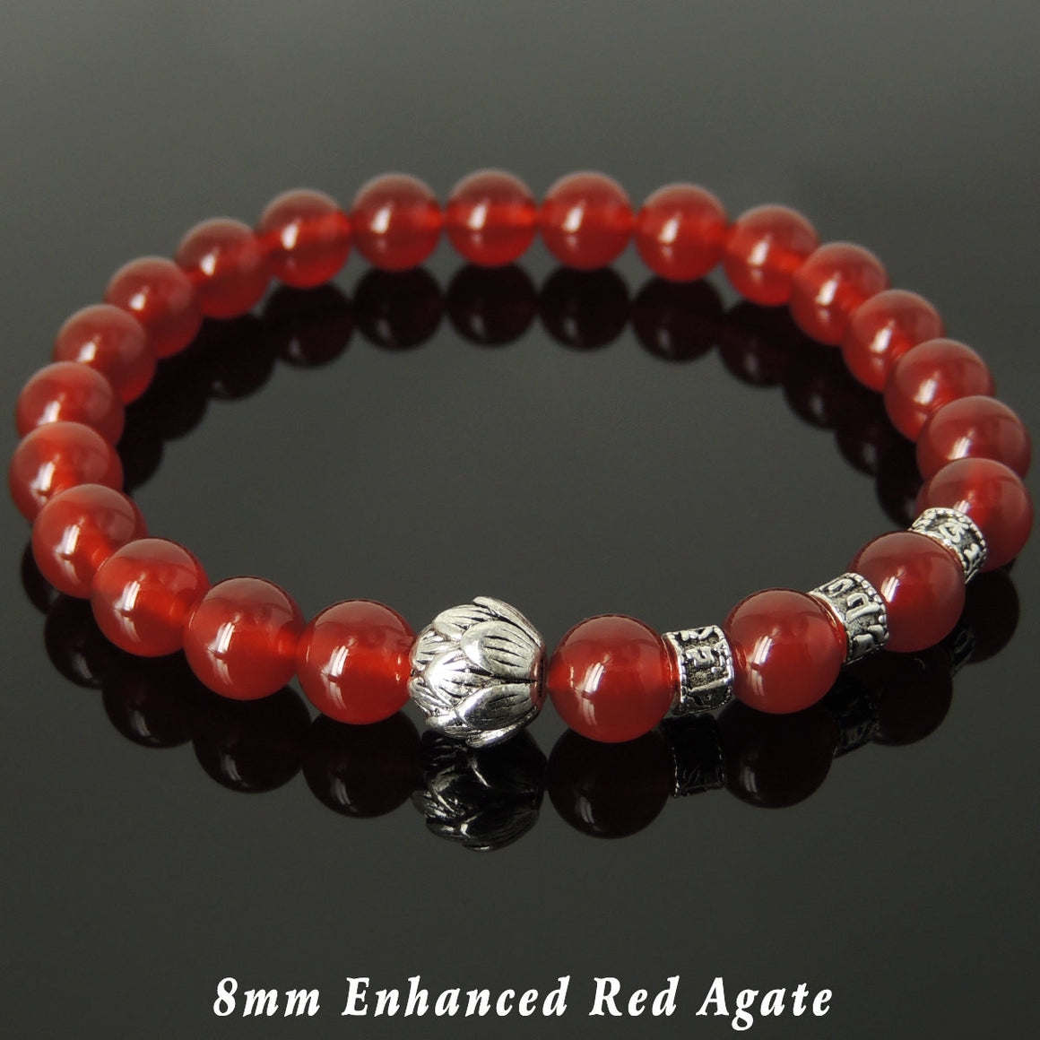 8mm Red Agate Healing Gemstone Bracelet with Tibetan Silver Lotus Bead & OM Meditation Spacer Beads - Handmade by Gem & Silver TSB329