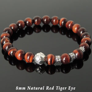 8mm Red Tiger Eye Healing Gemstone Bracelet with Tibetan Silver Lotus Bead & OM Meditation Spacer Beads - Handmade by Gem & Silver TSB337