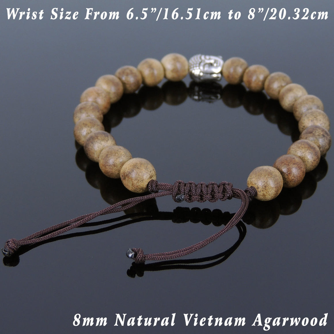 Agarwood Mala Adjustable Bracelet with S925 Sterling Silver Guanyin Buddha Bead - Handmade by Gem & Silver BR868
