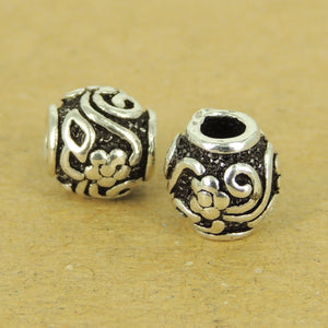 2 PCS Flower Pattern Barrel Beads - S925 Sterling Silver WSP510X2