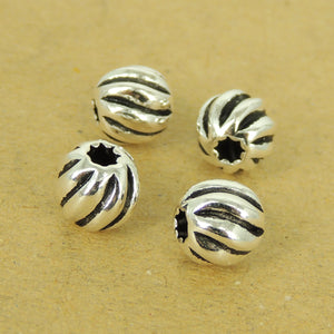 4 PCS Round Vintage 7mm Spacer Beads - S925 Sterling Silver - Wholesale by Gem & Silver WSP511X4