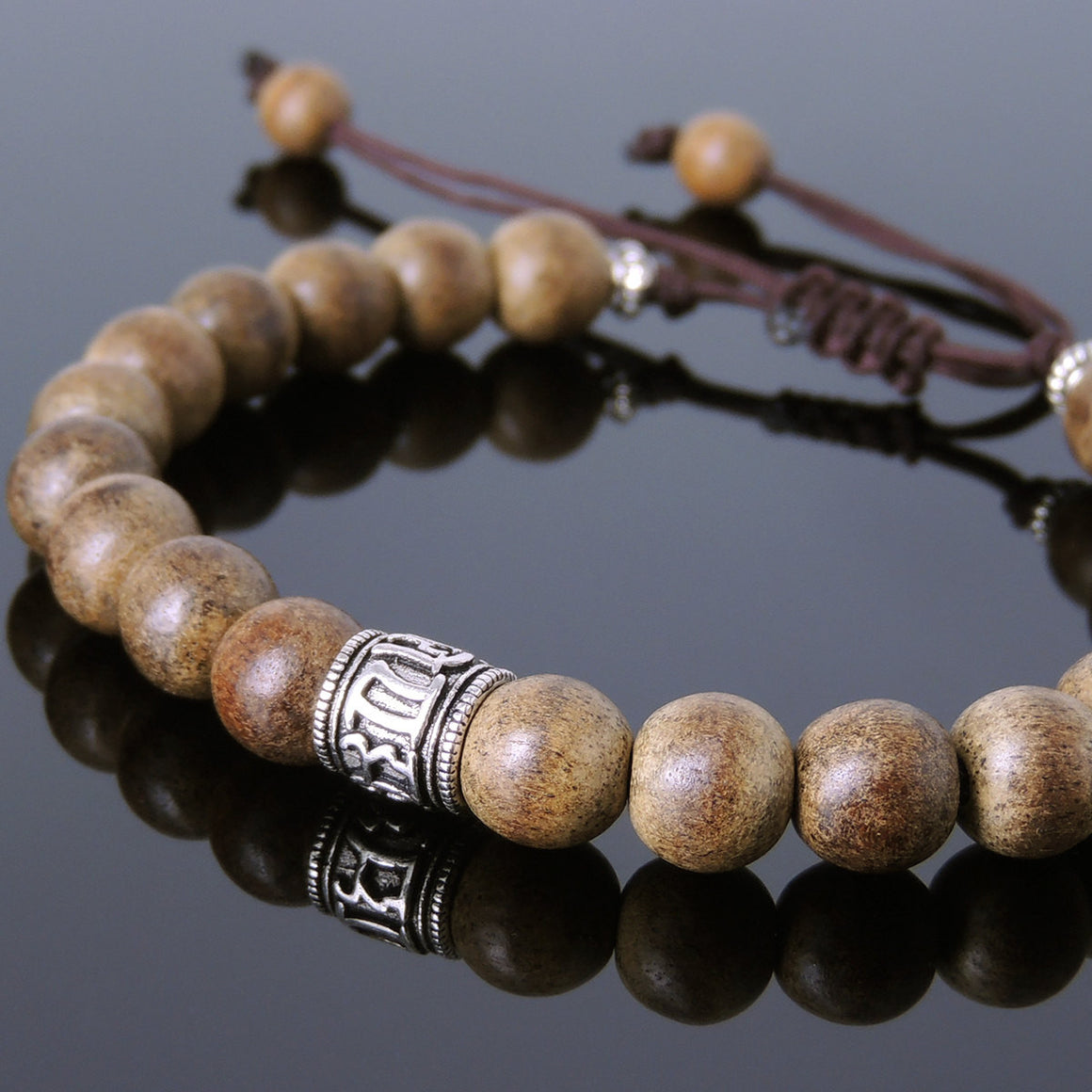 Agarwood Mala Adjustable Bracelet with S925 Sterling Silver OM Buddhism Bead & Spacers - Handmade by Gem & Silver BR646