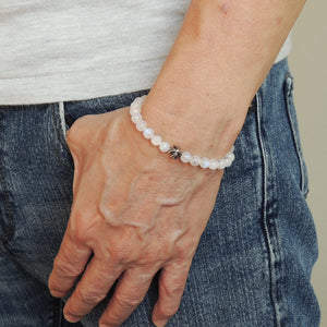 6mm Grade AA Moonstone Healing Gemstone Bracelet with S925 Sterling Silver Cross Bead - Handmade by Gem & Silver BR1042