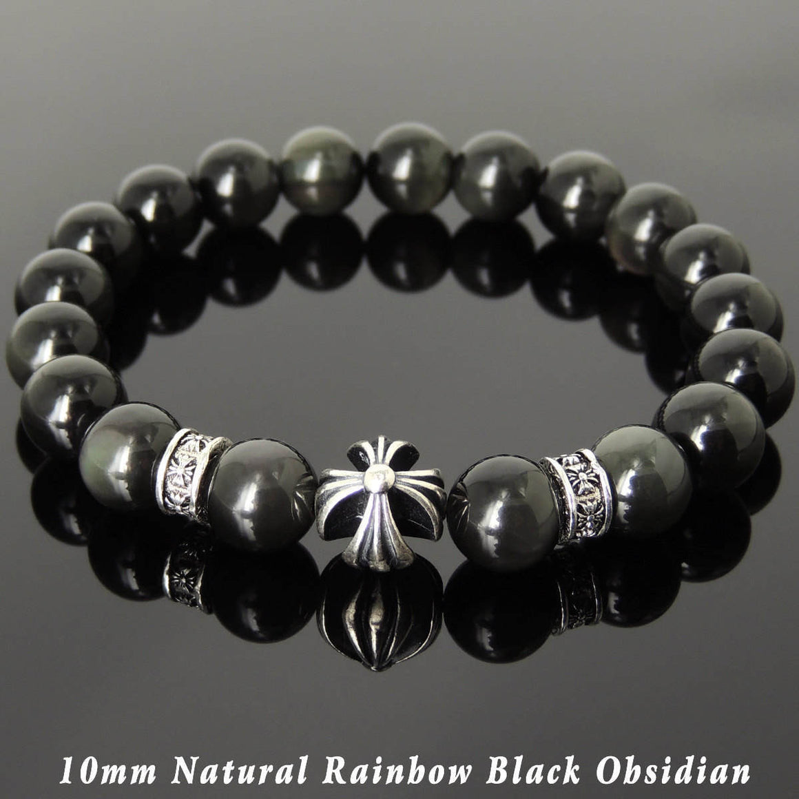 10mm Rainbow Black Obsidian Healing Gemstone Bracelet with S925 Sterling Silver Cross & Spacer Beads - Handmade by Gem & Silver BR1090