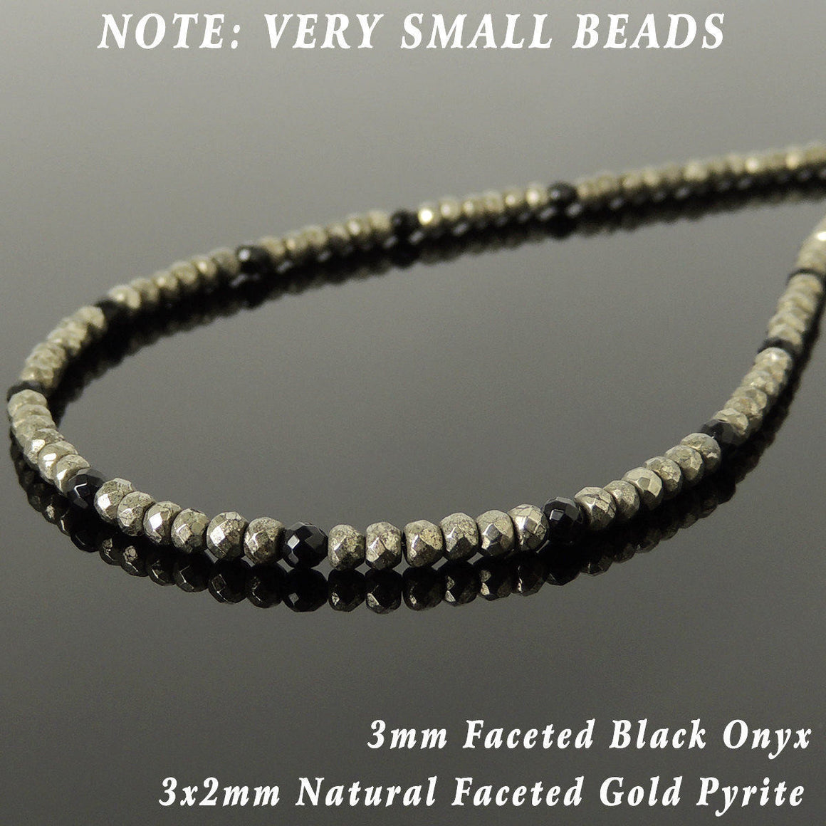 Faceted Bright Black Onyx & Gold Pyrite Healing Gemstone Necklace with S925 Sterling Silver Spacers & Clasp - Handmade by Gem & Silver NK181