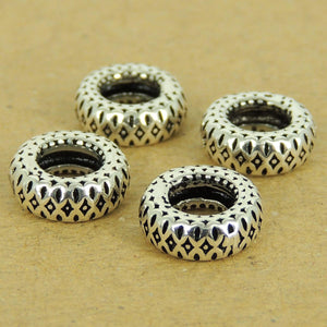 4 PCS Pattern Wheel Charm Beads - S925 Sterling Silver - Wholesale by Gem & Silver WSP535X4