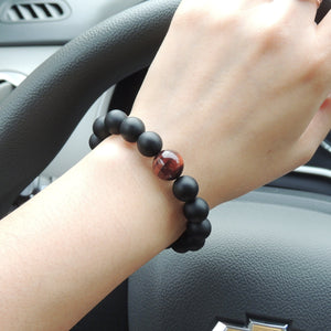12mm Red Tiger Eye & 10mm Matte Black Onyx Adjustable Braided Gemstone Bracelet - Handmade by Gem & Silver BR1049