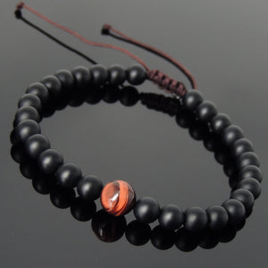 8mm Red Tiger Eye & 6mm Matte Black Onyx Adjustable Braided Gemstone Bracelet - Handmade by Gem & Silver BR1051