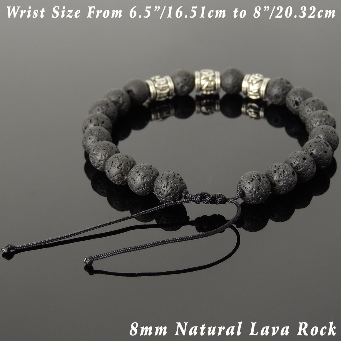 Lava Rock Adjustable Braided Stone Bracelet with Tibetan Silver OM Buddhism Beads - Handmade by Gem & Silver TSB340