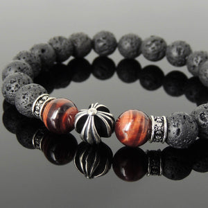 10mm Red Tiger Eye & Lava Rock Healing Gemstone Bracelet with S925 Sterling Silver Cross & Spacer Beads - Handmade by Gem & Silver BR1103