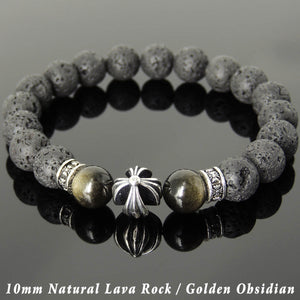 10mm Golden Obsidian & Lava Rock Healing Gemstone Bracelet with S925 Sterling Silver Cross & Spacer Beads - Handmade by Gem & Silver BR1104