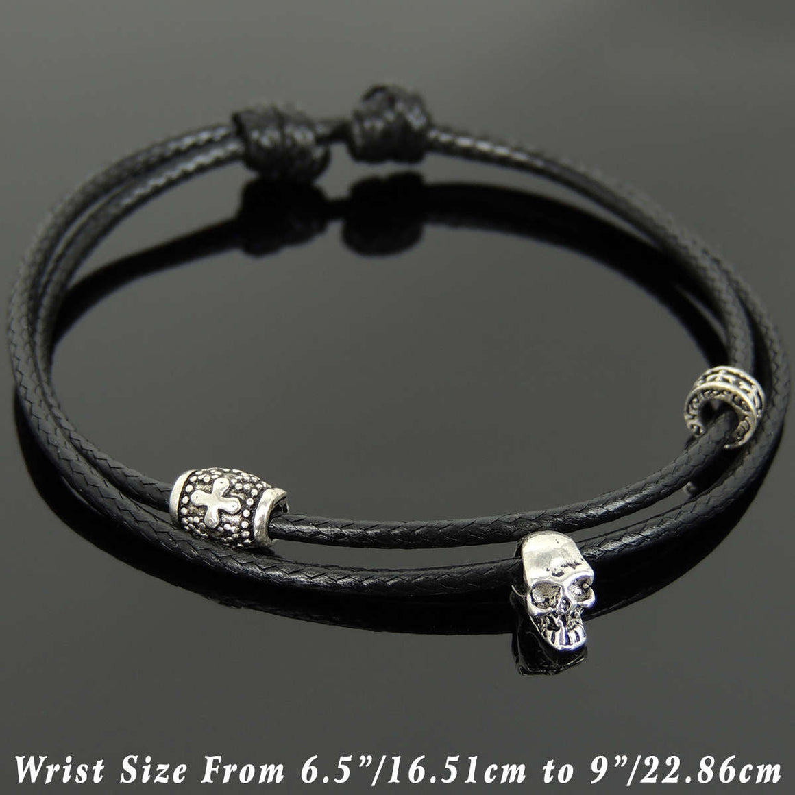 Adjustable Wax Rope Bracelet with S925 Sterling Silver Vintage Skull & Cross Barrel Spacer Beads - Handmade by Gem & Silver BR1105