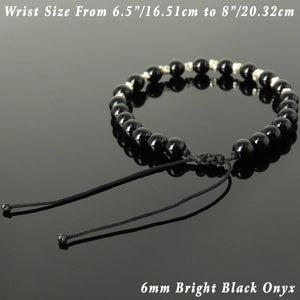 6mm Bright Black Onyx Adjustable Braided Bracelet with S925 Sterling Silver Nugget Beads - Handmade by Gem & Silver BR1109