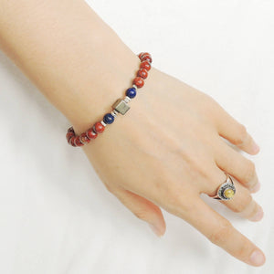 6mm Red Jasper & Lapis Lazuli with Pyrite Cube Adjustable Braided Healing Gemstone Bracelet with S925 Sterling Silver Nugget Beads - Handmade by Gem & Silver BR1112