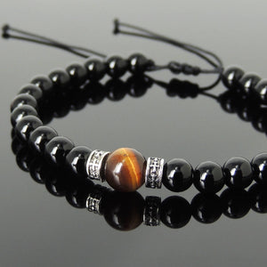 Black Onyx & Brown Tiger Eye Adjustable Braided Bracelet with S925 Sterling Silver Celtic Cross Spacer Charms - Handmade by Gem & Silver BR1116