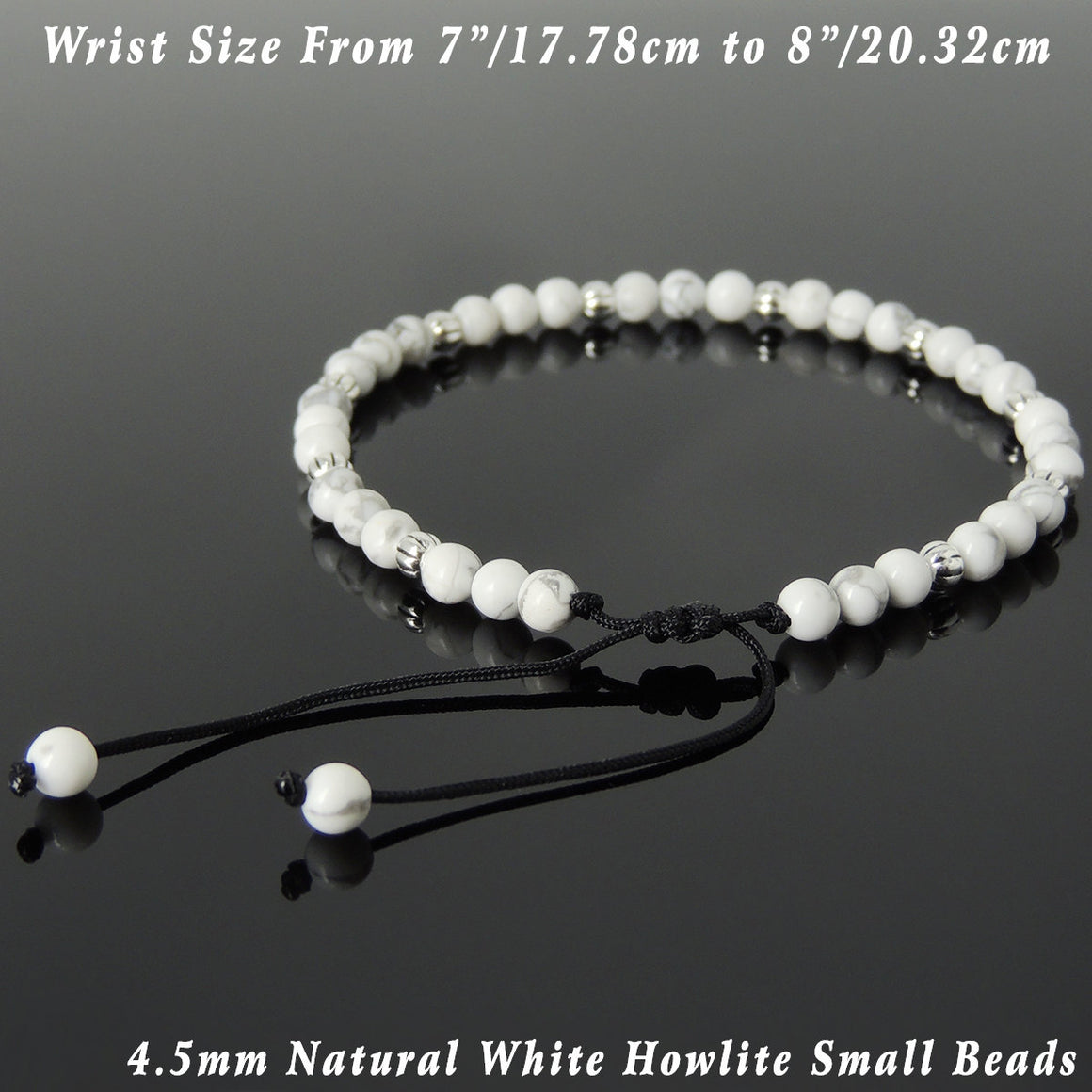4.5mm White Howlite Adjustable Braided Healing Bracelet with S925 Sterling Silver Artisan Beads - Handmade by Gem & Silver BR1057