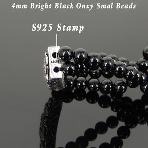 4mm Bright Black Onyx Healing Gemstone Double Wrap Bracelet with S925 Sterling Silver Vintage Lotus Charm - Handmade by Gem & Silver BR864