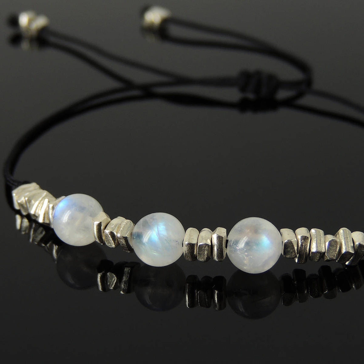 6mm Grade AA Moonstone Adjustable Braided Gemstone Bracelet with S925 Sterling Silver Nugget Beads - Handmade by Gem & Silver BR1121