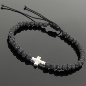 4mm Lava Rock Stone Adjustable Braided Bracelet with S925 Sterling Silver Holy Cross Charm - Handmade by Gem & Silver BR1065