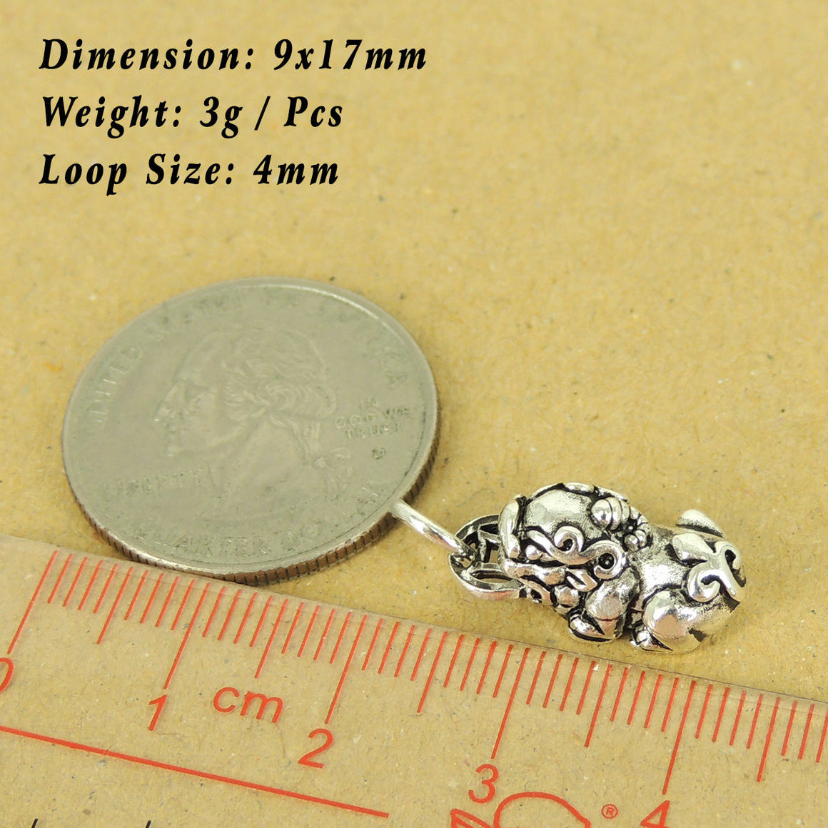 1 PC Chinese Brave Troop Protection Charm/Pendant - Genuine S925 Sterling Silver