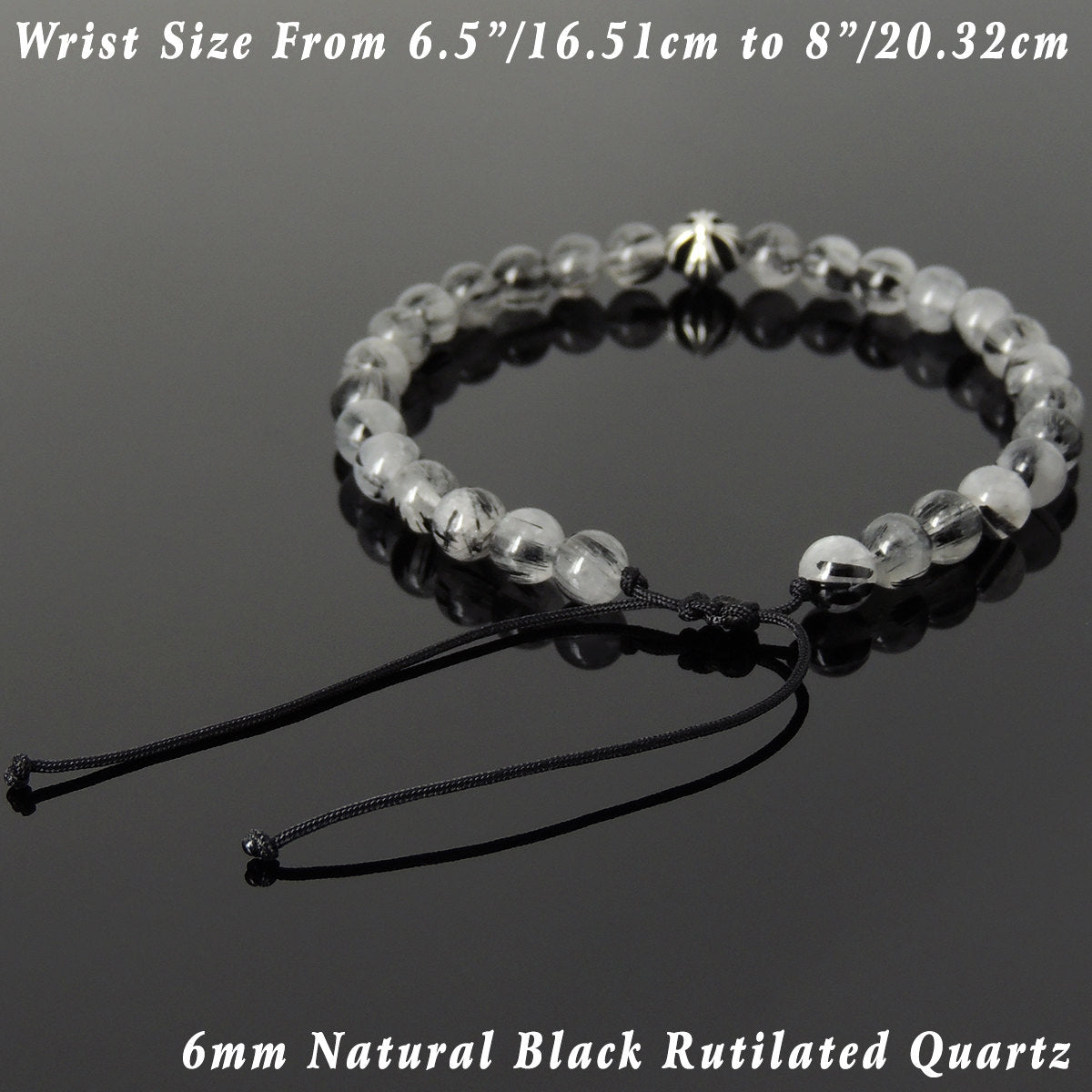 6mm Black Rutilated Quartz Adjustable Braided Gemstone Bracelet with S925 Sterling Silver Cross Bead - Handmade by Gem & Silver BR1074