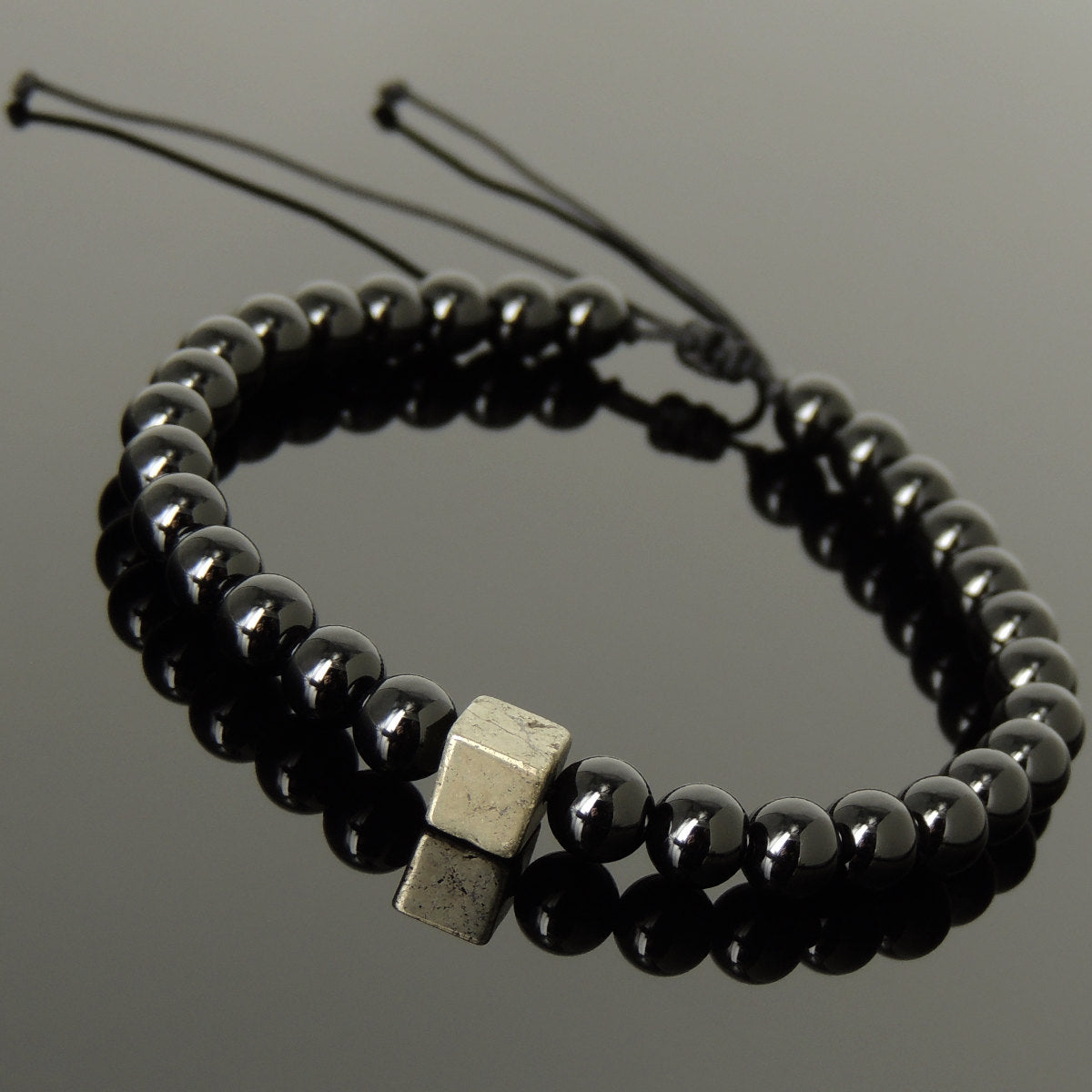 6mm Bright Black Onyx Gemstone Adjustable Braided Bracelet with Gold Pyrite Cube Bead - Handmade by Gem & Silver BR1079