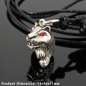 Adjustable Wax Rope Necklace with S925 Sterling Silver Jungle Cat Pendant & Garnet Gemstone Eyes - Handmade by Gem & Silver NK193