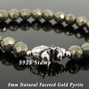 8mm Faceted Gold Pyrite Healing Gemstone Bracelet with S925 Sterling Silver Spacer Beads & Fleur de Lis Charm - Handmade by Gem & Silver BR1084