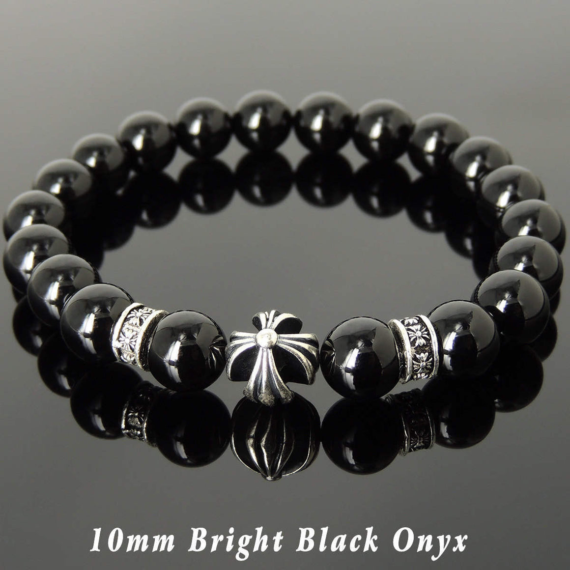 10mm Bright Black Onyx Healing Gemstone Bracelet with S925 Sterling Silver Cross & Spacer Beads - Handmade by Gem & Silver BR1089